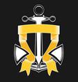nautical anchor with ribbon vector image
