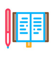 notebook pen icon outline vector image
