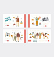 people in warm clothes for outdoor walking landing vector image vector image