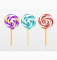 realistic swirl lollipops isolated on white vector image vector image
