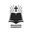 religious community holy bible icon with cross vector image vector image