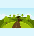 road on hills among trees and meadows vector image vector image