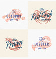 seafood labels set retro print effect cards vector image vector image