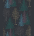 seamless pattern with hand drawn trees vector image vector image