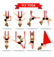 set fly yoga positions design vector image vector image