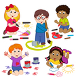 set of isolated children draw pictures vector image vector image