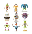 set of robots isolated on white background vector image