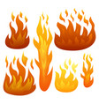 set of six fire flames on white background vector image
