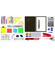 set realistic office equipment tools or school vector image