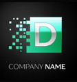 silver letter d logo symbol in the green square vector image vector image