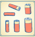 Sketch batteries set in vintage style vector image vector image