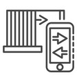 smartphone control icon outline style vector image