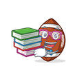student with book american football character vector image vector image
