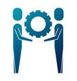 two businessmen holding gear teamwork concept vector image vector image