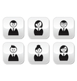 Users icons - glossy buttons set vector image vector image