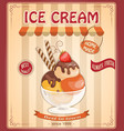 vintage background with home made ice cream vector image vector image