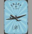 vintage passenger plane wall art rpint blue color vector image vector image