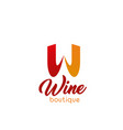 w letter icon for wine boutique vector image
