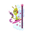 wall meter with funny alien sticker for measuring vector image vector image