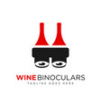 wine bottle binocular logo vector image