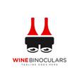 wine bottle binocular logo vector image vector image