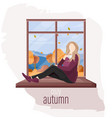 woman at window autumn flat style fall vector image vector image