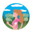 woman running portrait round icon vector image