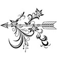 wooden arrow with floral ornament vector image vector image