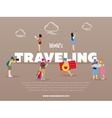 World traveling banner with people vector image vector image