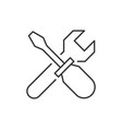 wrench crosses screwdriver icon vector image vector image
