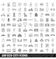 100 eco city icons set outline style vector image vector image