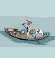 a female farmer on a boat in south china sea vector image