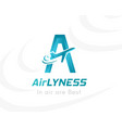 airlines logo template vacation or tourism emblem vector image vector image