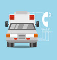 ambulance car with phone number to urgency vector image vector image