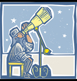 Astronomer at night vector image vector image