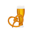 beer with pretzel at the festival oktoberfest vector image