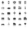 Birthday gift icons with reflect on white vector image