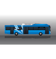 Blue electric bus with lightning symbol