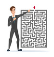 Businessman standing in front of a maze with red vector image vector image