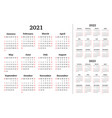calendar for 2021 2022 2023 years week vector image vector image