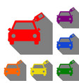 car sign with tag set of red orange yellow vector image vector image