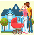 cartoon homosexual family happy posing near house vector image vector image
