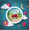 cartoon landscape car flower cloud vector image
