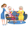 cartoon old friends knitting sitting on sofa vector image