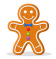 christmas gingerbread man smiling on a white vector image vector image