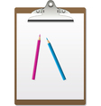 clipboard and pencils vector image vector image