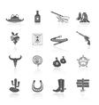 Cowboy Icons Black vector image vector image