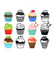 cupcake colorful and silhouettes set vector image vector image