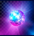 disco ball with bright rays and bokeh music