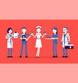 doctors nurses set vector image